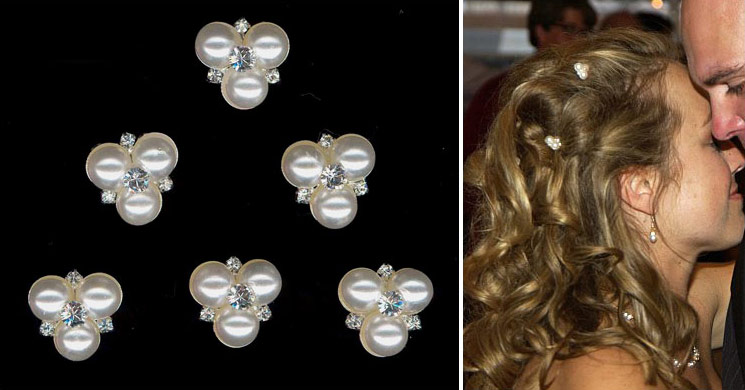 Pearl hairpin with rhinestone center